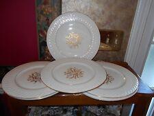 Huge Set Theodore Haviland Fairfield Ivory Gold Leaf Raised Relief Dinner Plates