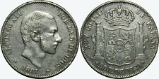 1881 Spain/Philippines 50 Centimos ~ VF/XF ~ KM#150 ~ Silver ~ MX447