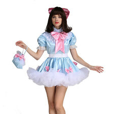 Forced Sissy Girl Lockable Maid Bow Dress Stain Puffy Crossdress Uniform Costume