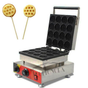 110V 1.5KW Commercial Nonstick Electric 16 pcs Mini Round Waffle Machine