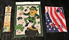 New listing 3 Seasonal Flags Thanksgiving, St. Patrick's Day, & 4th of July 11 x 16