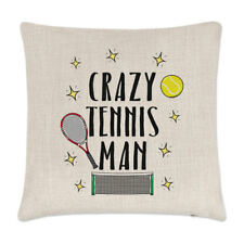 Crazy Tennis Man Linen Cushion Cover Pillow - Funny Sport