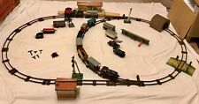 VINTAGE HORNBY CLOCKWORK O GAUGE SET - TRACK, LOCOMOTIVES, WAGONS & BUILDINGS