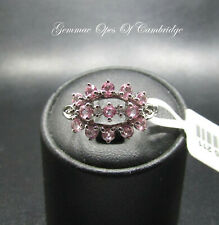 New 9K gold 9ct White Gold Pink Sapphire and Diamond Cluster Ring Size N 2.2g