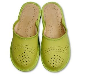 WOMEN'S GIRLS LADIES SLIPPERS FOR GIRL NATURAL LEATHER mules H-Q hand made