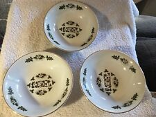 Set of 3 Noel Cereal Soup Bowl Wood & Sons England Christmas Beautiful Gold Rim