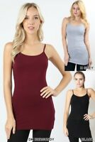 Long Cami with shelf bra adjustable strap Zenana basic tank top S-M-L-XL