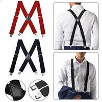 Mens Women Elastic Suspenders Leather Braces X-Back Adjustable Clip-on Black