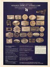 1976 Print Ad of Alliance American Antique Corp Belt Buckles Colt US CS CSA Bell