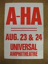 A-HA Universal Ampitheatre 1986 Cardboard CONCERT POSTER Synthpop SCOUNDREL DAYS