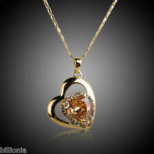 New 18k Gold Plated Swarovski Elements Crystal Rhinestone Heart Necklace Pendant