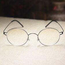 Men's round glasses titanium eyeglasses Steve Jobs gray glasses RX clear lens