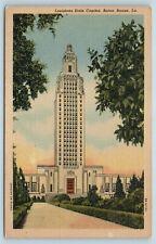 Postcard LA Baton Rouge Louisiana State Capitol Building c1940s Linen AB16