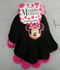 Disney Minnie Mouse  2 Pack Gloves Pink & Black  Ages 3 small  (New)