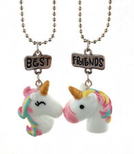 GIRLS BEST FRIENDS PAIR OF UNICORN NECKLACE SET IN GIFT BAG 2PCS CUTE
