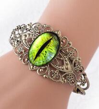 Glass Cat Eye Sci-fi Taxidermy Fantasy Bronze Floral Filigree Cuff Bracelet USA