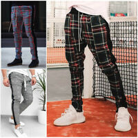 USA Gym Mens Trousers Plaid Tracksuit Bottoms Skinny Joggers Sweat Track Pants