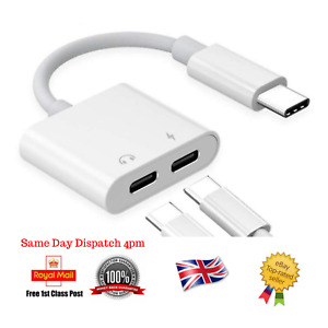 Charging Headphone Adapter For Samsung S10 S9 S8 Dual Splitter Audio Cable