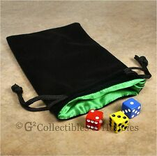 NEW Large Black Velvet RPG Game Dice Bag with GREEN Satin Lining Counter Pouch