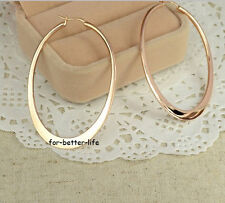 18K Rose Gold Gp Fashion Hoop Round Party Big Earrings With Free Shipping AC395