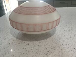 Vintage 1950's white glass with pink lines and squares oval shade