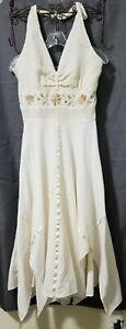 EMBROIDERED Halter Maxi PEASANT GYPSY Dress Medium Ivory GOLD Linen Handkerchief