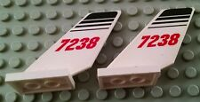 Lego Lot of 2 White Airplane Shuttle Tails with 7238 Pattern