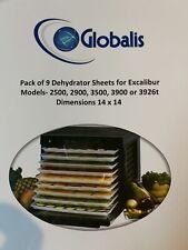 (9) Globalis Food Dehydrator Sheets 14 x 14 -Excalibur 2500 2900 3500 3900 3926t
