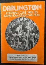 More details for darlington v sunderland friendly 24th august 1982