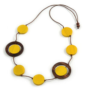 Coin Shape Wood Bead Cord Necklace In Yellow/ Brown/ 88cm L/ Adjustable