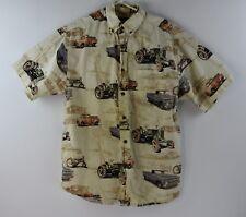 Bit and Bridle Mens Western Shirt Antique Vehicle Print Medium Short Sleeve