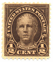 US Scott #653 Nathan Hale 1/2¢ Olive Brown Perf. 11X10 1/2 MNH