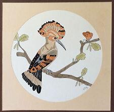 Encre et aquarelle signée Villon oiseau huppe fasciée papillon XX ème siècle