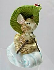Vintage Otagiri Revolving Music Box Mouse Boat Leaf Lady Bug plays Moon River 5""