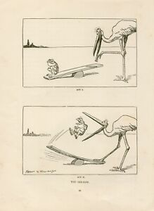 OLD ORIGINAL 1928 COMIC BOOKPLATE PRINT A FROG A STORK AND A SEESAW