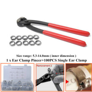 100xStainless Steel Single Ear Hose Clamps&Clamp Pliers Pincer For Car Machinery