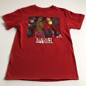 Marvel Adult Med M Red T Shirt Captain America Hulk Iron Man Spiderman Superhero