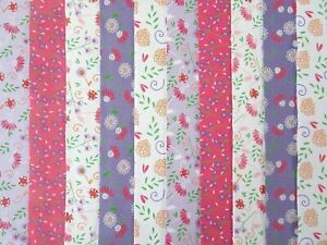 20 JELLY ROLL STRIPS COTTON PATCHWORK FABRIC 22 INCH LONG ~ CUTE FLORALS