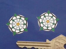 "Yorkshire White Rose Self Adhesive Car Bike Scooter Motorcycle Stickers 1"" Pair"