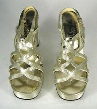 Di Orisani Size 7 B AA NARROW Disco Gold Metallic Shoes Platform Heel VTG 1970s