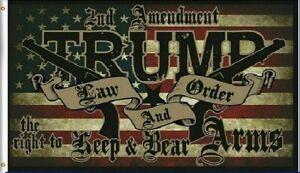 Trump Law & Order 2nd Amendment 2024 President Flag USA America 3x5 Feet MAGA