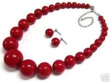 "Beautiful 6-14mm Red Coral Round Beads Necklace Earring 18"" Set JN47"