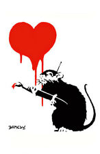 BANKSY LOVE RAT STENCIL REUSABLE FROM A4 180 mc