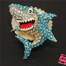 Hot Betsey Johnson Blue Cute Bling Shark Rhinestone Charm Brooch Pin Gift