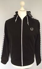 BNWT Fred Perry Laurel Taped Black Hooded Track Jacket Medium (M)