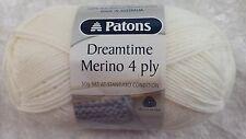 Patons Dreamtime Merino 4 Ply #0049 White Pure Merino Wool 50g