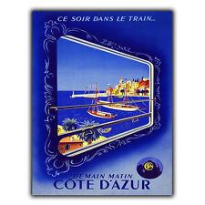 COTE D'AZUR Métal Signe Plaque Murale Rétro Vintage Voyage pub imprimé Poster