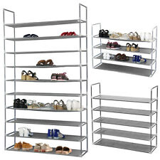 10 Tier 50 Pairs Free Standing Shoe Rack Space Saving Organizer Shelf Storage