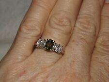 Moldavite & White Topaz, Sterling Silver Ring Size 8
