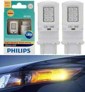 Philips Ultinon LED Light 3057 Amber Orange Two Bulbs Front Turn Signal Stock OE